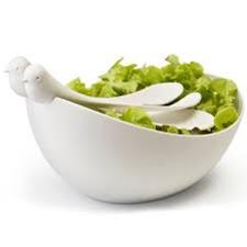 Qualy saladeschaal met 'vogelcouvert'