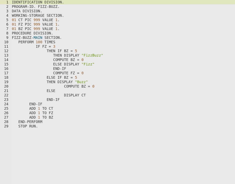 FizzBuzz in COBOL, yikes!