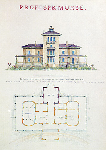 Country Residence of S.F.B. Morse, Near Poughkeepsie, N.Y. Riverfront Elevation and Plans