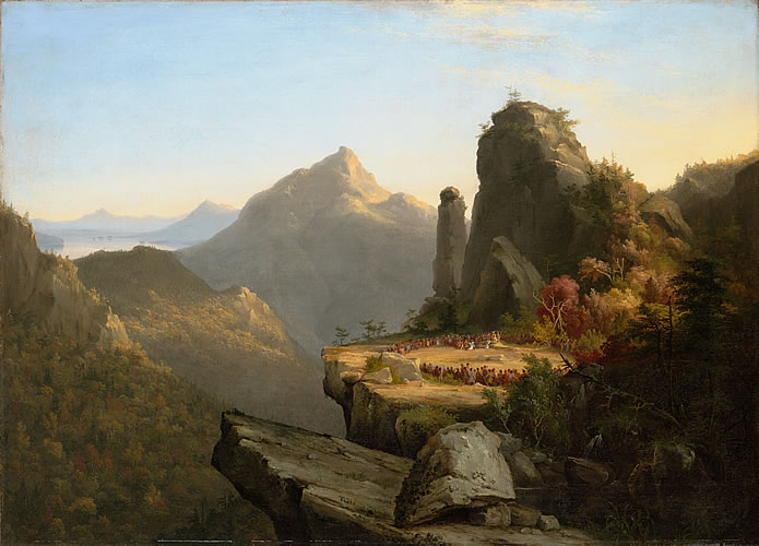 """Scene from """"The Last of the Mohicans,"""" Cora Kneeling at the Feet of Tamenund"""