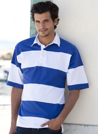 Striped short sleeve rugby shirt
