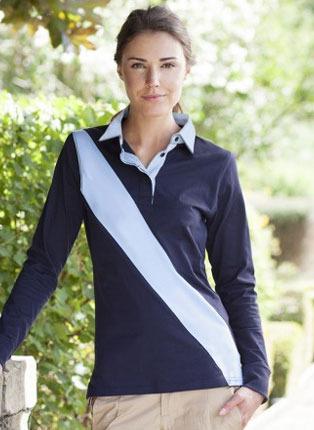 Ladies diagonal stripe rugby shirt