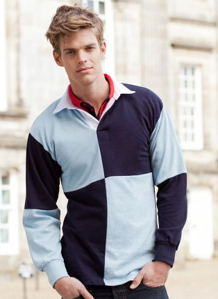 Long sleeve quartered rugby shirt