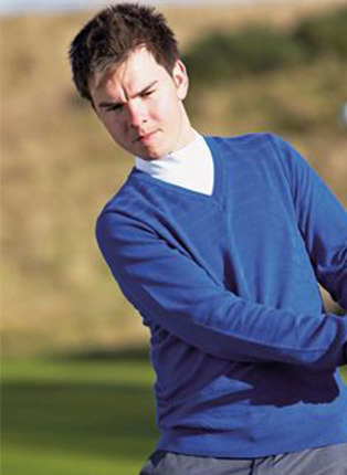Performance textured v neck  sweater