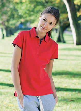 Womens contrast pique polo shirt