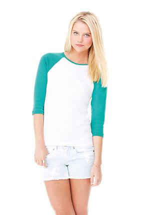 Baby rib sleeve contrast raglan t shirt