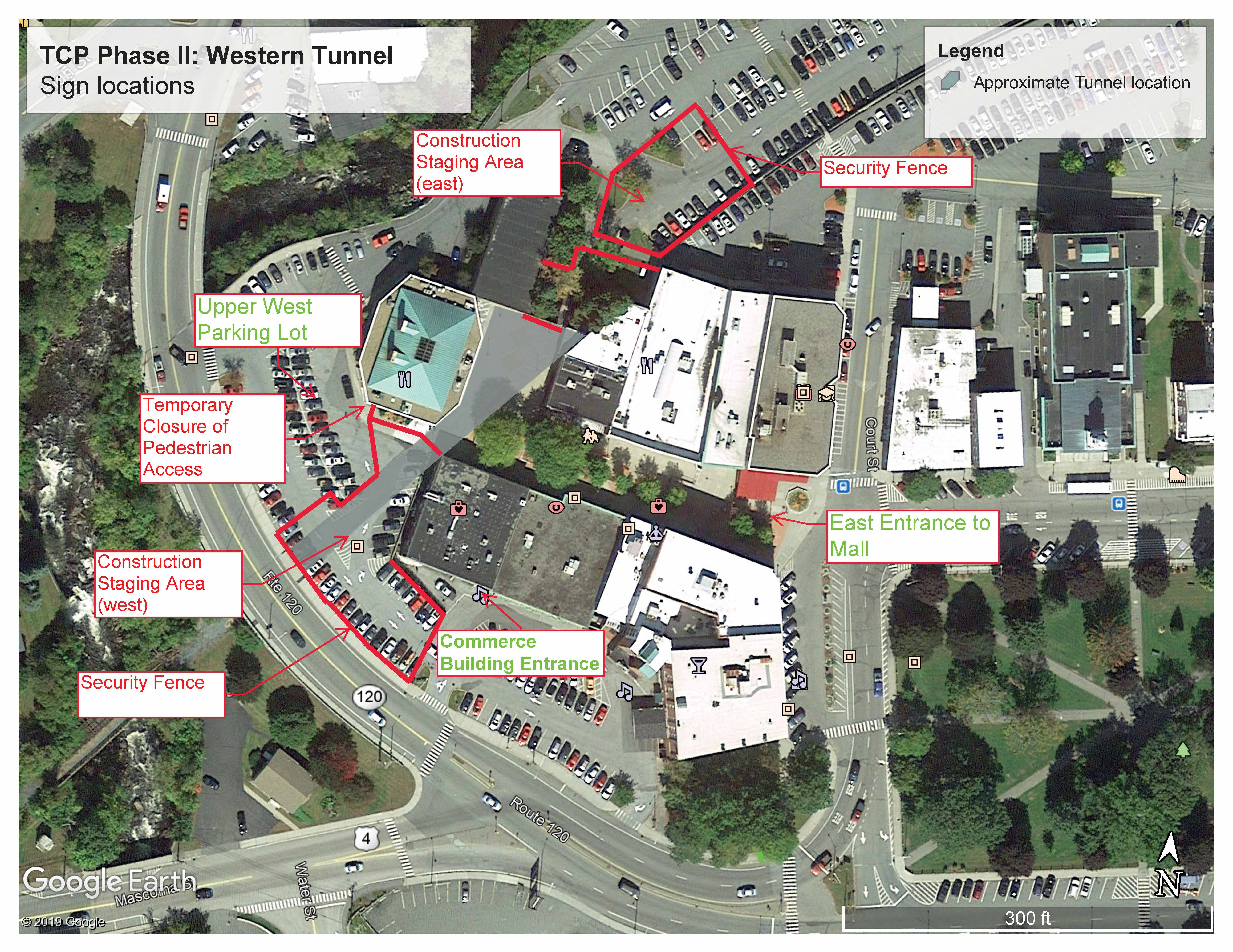 map of pedestrian access on the Lebanon Mall