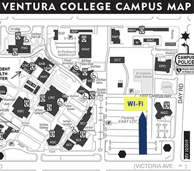 Map showing parking lot WiFi location in North-East corner of eaast parking lot.