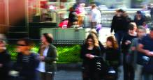 Blurred street people