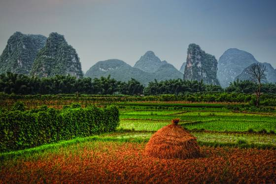 Rice haystack and mountains