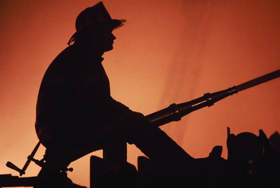 Silhouette of boston firefighter