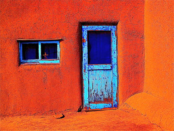 Taos pueblo door  new mexico
