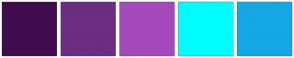 Color Scheme with #410D4F #6D2D81 #A44ABC #00FDFF #16A7E6