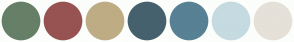 Color Scheme with #667F67 #975351 #BEAC84 #46616E #588195 #C5DBE1 #E5E1D9