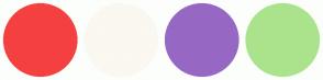 Color Scheme with #F54040 #FAF8F0 #9668C4 #ABE38D