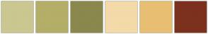 Color Scheme with #CBC791 #B4AE68 #8A884C #F4DAA8 #E8BF72 #7B311E