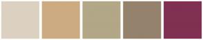 Color Scheme with #DCD1C1 #CCAB82 #B2A787 #94826D #803052