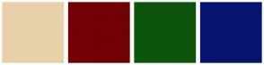 Color Scheme with #E8D0A9 #720005 #0D540D #06156E