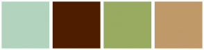 Color Scheme with #B2D4BE #4E1D00 #98AB61 #BF9969