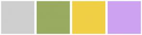 Color Scheme with #CFCFCF #98AB61 #F1CF45 #CDA3F0