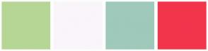 Color Scheme with #B6D696 #FAF5FA #9FC9BB #F3354C