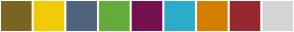 Color Scheme with #7A6422 #F2CC07 #4D647C #63AC3B #751052 #2BACCC #D47F00 #97282E #D5D5D7