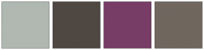 Color Scheme with #B0B8B2 #4F4842 #783D67 #70675F