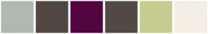 Color Scheme with #B0B8B2 #4F4842 #520640 #514A44 #C5CD8F #F3EEE3
