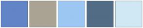 Color Scheme with #6285C7 #AAA393 #9CC7F2 #526C85 #D0E8F4