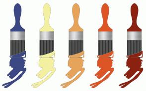 Color Scheme with #3C4884 #F3F0A1 #E6A45A #DD5525 #8C2212