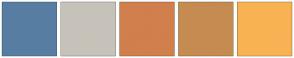 Color Scheme with #577EA2 #C7C2B9 #D17F4C #C68B50 #F9B253