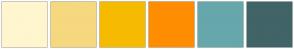 Color Scheme with #FFF6CE #F6D87F #F6BB01 #FF8D02 #66A7AB #406467