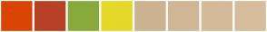 Color Scheme with #DA4405 #B84025 #88AA3C #E5D829 #CCB291 #D6B393 #DDBB98 #E0C6AD