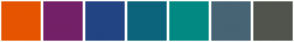 Color Scheme with #E65400 #742068 #234483 #0C637C #018982 #476475 #50544D