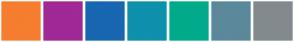 Color Scheme with #F67D2F #9F2996 #1966B1 #0E91AC #01AB8B #5C889C #838A8E