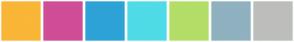 Color Scheme with #FAB636 #D04D97 #2DA3D7 #4FDBE7 #B3DE68 #90B1C0 #BDBEBC