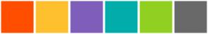 Color Scheme with #FF4E00 #FFB81D #6457B0 #00ADBC #91C712 #555555