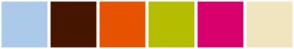 Color Scheme with #ABCAE9 #461500 #E75300 #B6BD00 #D7006D #F0E5BF