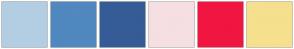 Color Scheme with #B3CEE3 #5088BF #355C96 #F5DFE2 #F01641 #F5E08E