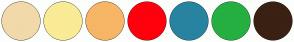 Color Scheme with #F2D9AA #FAEB96 #F7B665 #FF000D #2883A1 #25B041 #3B2014
