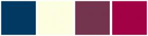 Color Scheme with #003A62 #FDFDE1 #74344E #A30046