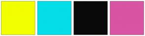 Color Scheme with #F2FF00 #04DEE9 #0A0909 #D954A3