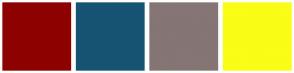 Color Scheme with #8E0101 #165372 #857575 #FAFD15