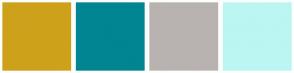 Color Scheme with #CEA11B #018592 #B8B3B0 #BBF6F3