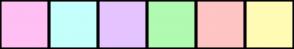 Color Scheme with #FFBFF2 #C4FFFC #E5C4FF #B1FAB1 #FFC4C4 #FFFBB5
