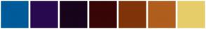 Color Scheme with #005B9A #29094F #18041C #380606 #80340A #B05E1E #E7CD69
