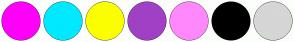 Color Scheme with #FF00F8 #00E9FF #FBFF00 #A041C5 #FF89FC #000000 #D6D6D6