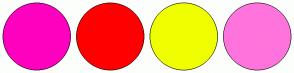 Color Scheme with #FF00BF #FF0000 #F0FF00 #FF74DC