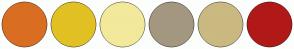 Color Scheme with #D96E22 #E1C123 #F2E99B #A49780 #CAB980 #B11919