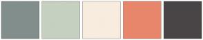 Color Scheme with #828E8C #C5D0C1 #F8ECDE #E8866C #494546